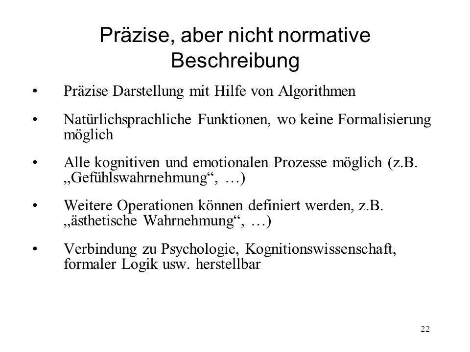 Präzise, aber nicht normative Beschreibung Präzise Darstellung mit Hilfe von Algorithmen Natürlichsprachliche Funktionen, wo keine Formalisierung möglich Alle kognitiven und emotionalen Prozesse möglich (z.B.