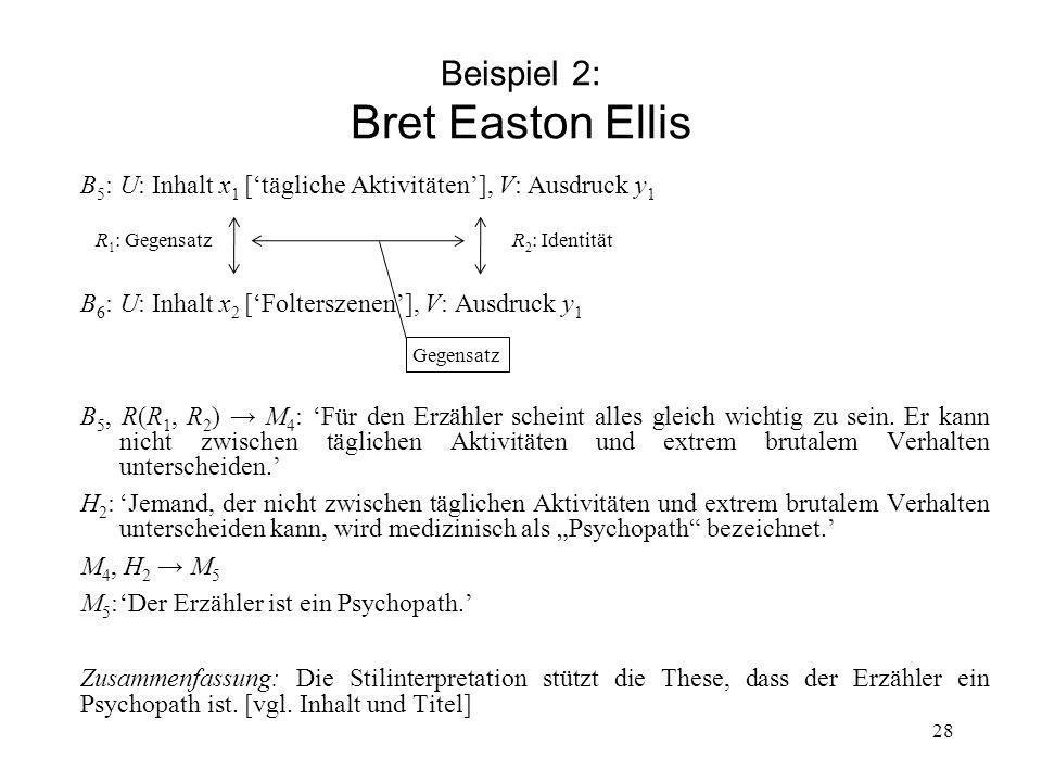 Beispiel 2: Bret Easton Ellis B 5 :U: Inhalt x 1 [tägliche Aktivitäten], V: Ausdruck y 1 R 1 : Gegensatz R 2 : Identität B 6 :U: Inhalt x 2 [Folterszenen], V: Ausdruck y 1 B 5, R(R 1, R 2 ) M 4 : Für den Erzähler scheint alles gleich wichtig zu sein.
