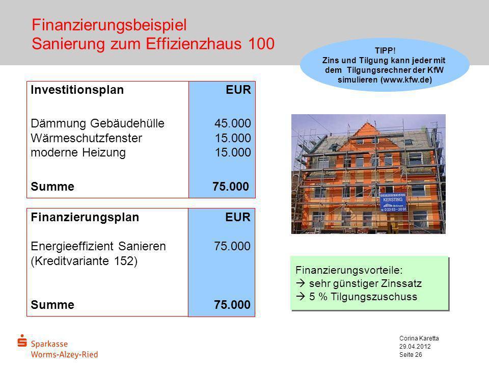 29.04.2012 Corina Karetta Seite 26 Finanzierungsbeispiel Sanierung zum Effizienzhaus 100 Investitionsplan Dämmung Gebäudehülle Wärmeschutzfenster mode