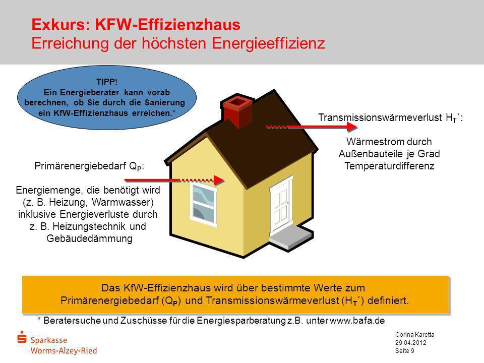 29.04.2012 Corina Karetta Seite 9 Exkurs: KFW-Effizienzhaus Erreichung der höchsten Energieeffizienz TIPP! Ein Energieberater kann vorab berechnen, ob