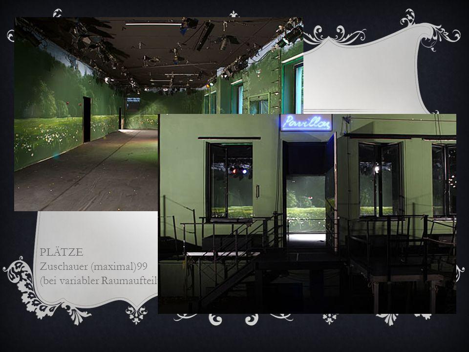 PAVILLON Im Erdgeschoß des Probenhauses liegt dieser rechteckige Raum (mit Fenstern zum Hof). Zugang über den Hof, einTreppenhaus oder über ein Kuliss