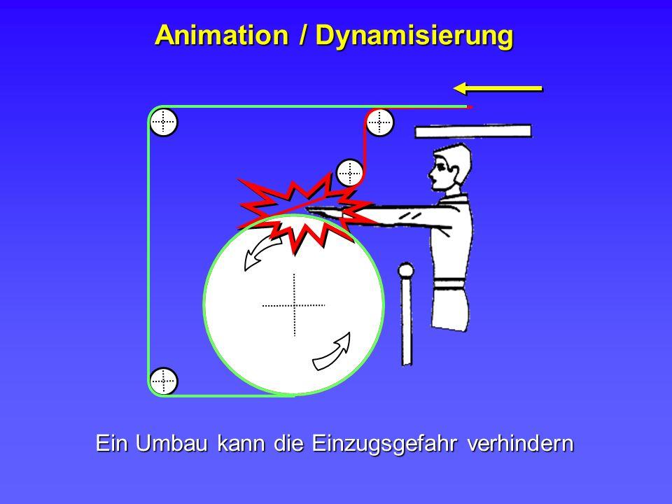 Ein Umbau kann die Einzugsgefahr verhindern Animation / Dynamisierung
