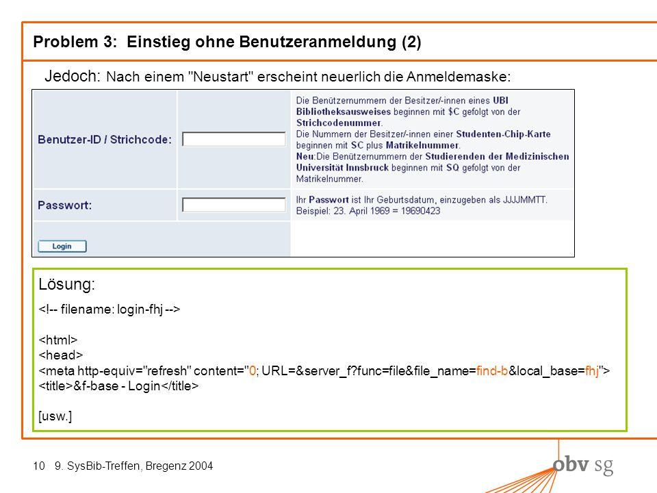 9. SysBib-Treffen, Bregenz 200410 Problem 3: Einstieg ohne Benutzeranmeldung (2) Jedoch: Nach einem