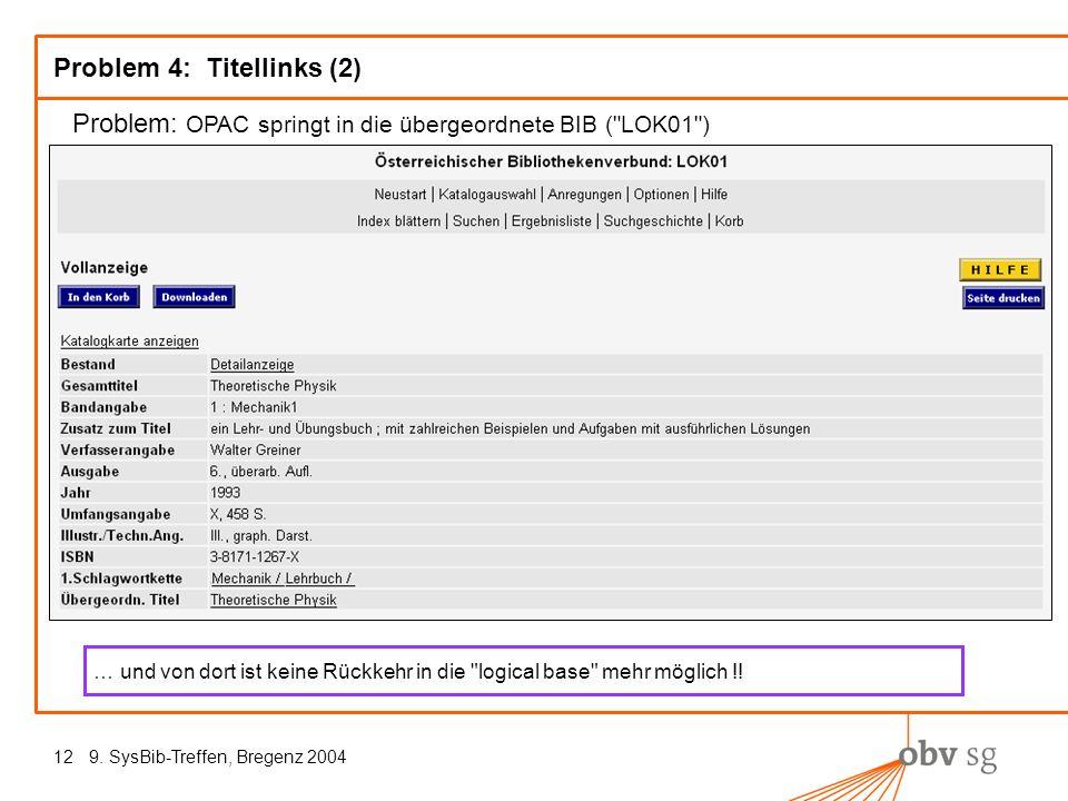 9. SysBib-Treffen, Bregenz 200412 Problem 4: Titellinks (2) Problem: OPAC springt in die übergeordnete BIB (