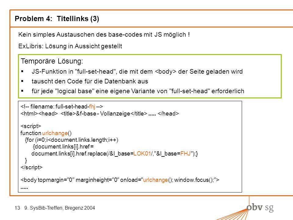9. SysBib-Treffen, Bregenz 200413 Problem 4: Titellinks (3) Kein simples Austauschen des base-codes mit JS möglich ! ExLibris: Lösung in Aussicht gest