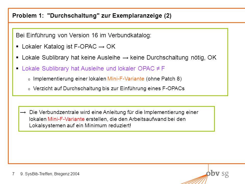 9. SysBib-Treffen, Bregenz 20047 Problem 1: