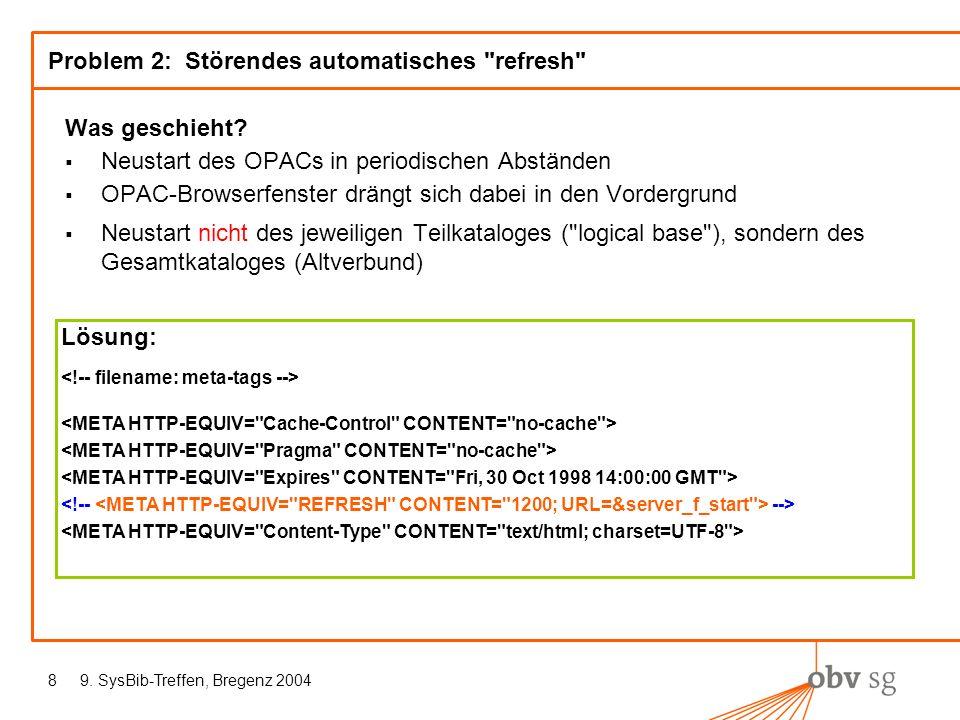 9. SysBib-Treffen, Bregenz 20048 Problem 2: Störendes automatisches refresh Was geschieht.