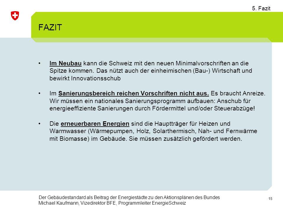 15 Der Gebäudestandard als Beitrag der Energiestädte zu den Aktionsplänen des Bundes Michael Kaufmann, Vizedirektor BFE, Programmleiter EnergieSchweiz FAZIT Im Neubau kann die Schweiz mit den neuen Minimalvorschriften an die Spitze kommen.