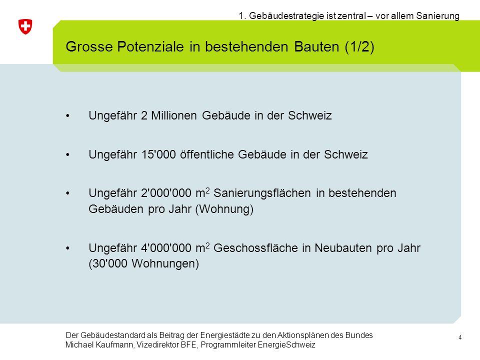 4 Der Gebäudestandard als Beitrag der Energiestädte zu den Aktionsplänen des Bundes Michael Kaufmann, Vizedirektor BFE, Programmleiter EnergieSchweiz Ungefähr 2 Millionen Gebäude in der Schweiz Ungefähr 15 000 öffentliche Gebäude in der Schweiz Ungefähr 2 000 000 m 2 Sanierungsflächen in bestehenden Gebäuden pro Jahr (Wohnung) Ungefähr 4 000 000 m 2 Geschossfläche in Neubauten pro Jahr (30 000 Wohnungen) Grosse Potenziale in bestehenden Bauten (1/2) 1.