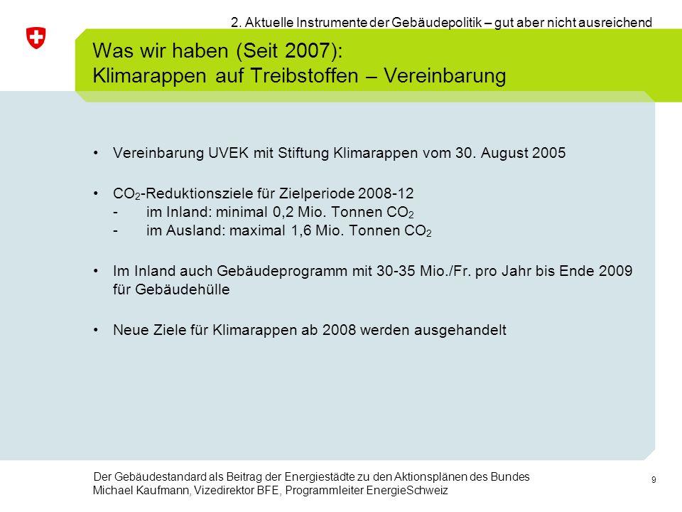 9 Der Gebäudestandard als Beitrag der Energiestädte zu den Aktionsplänen des Bundes Michael Kaufmann, Vizedirektor BFE, Programmleiter EnergieSchweiz Vereinbarung UVEK mit Stiftung Klimarappen vom 30.