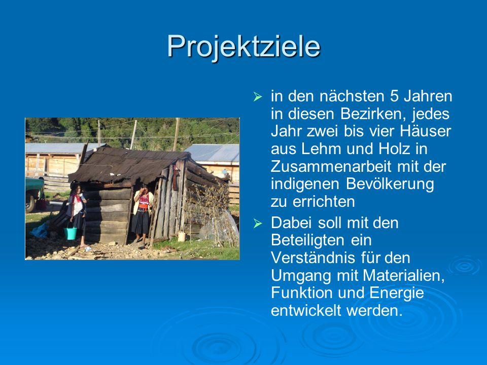 Projektziele in den nächsten 5 Jahren in diesen Bezirken, jedes Jahr zwei bis vier Häuser aus Lehm und Holz in Zusammenarbeit mit der indigenen Bevölk
