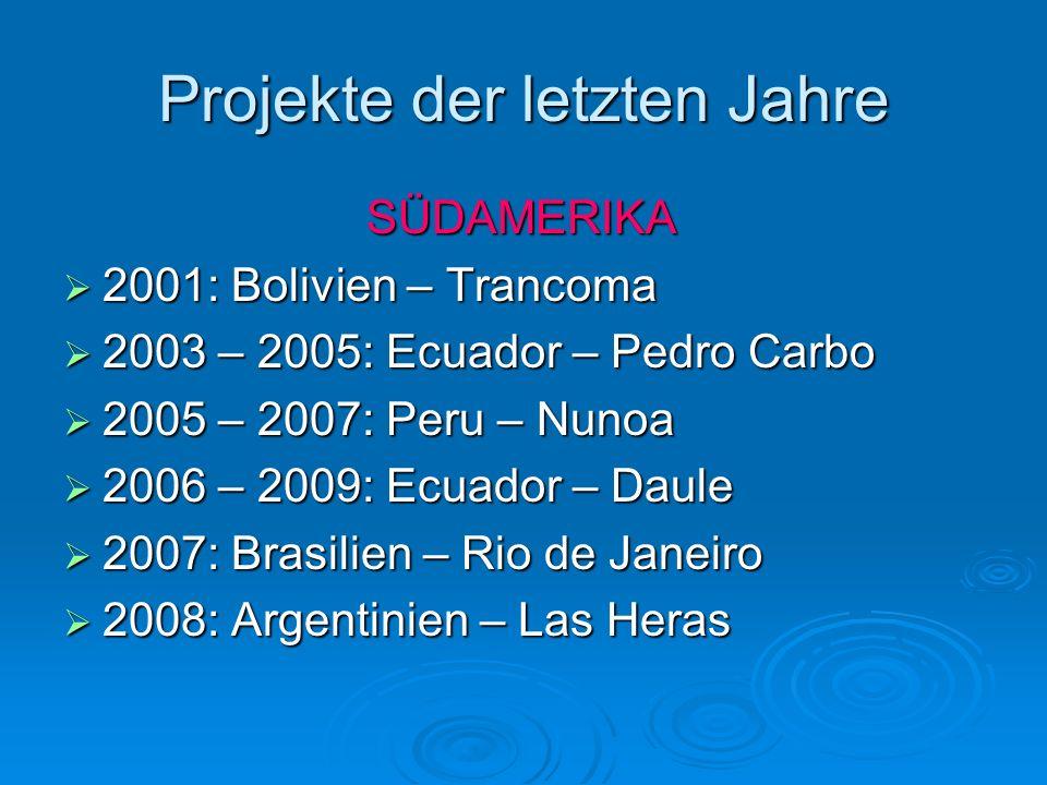 Projekte der letzten Jahre SÜDAMERIKA 2001: Bolivien – Trancoma 2001: Bolivien – Trancoma 2003 – 2005: Ecuador – Pedro Carbo 2003 – 2005: Ecuador – Pe