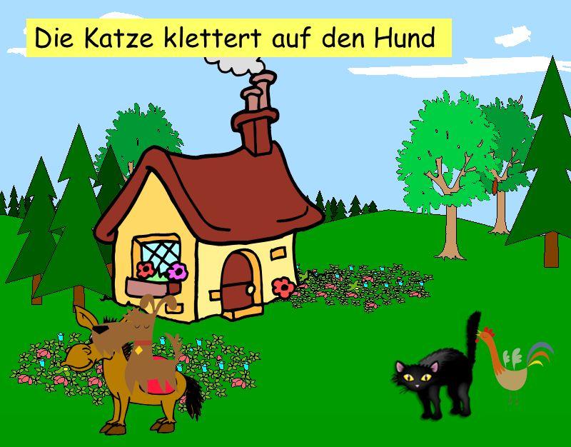 Der Hund springt auf des Esels Rücken
