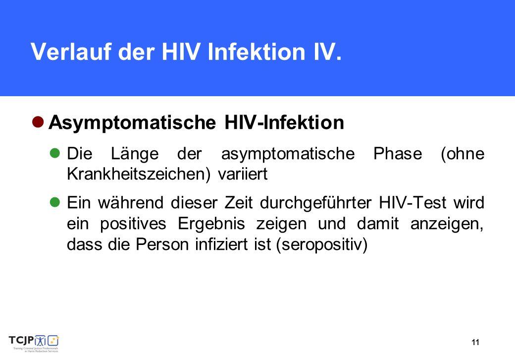 11 Verlauf der HIV Infektion IV. Asymptomatische HIV-Infektion Die Länge der asymptomatische Phase (ohne Krankheitszeichen) variiert Ein während diese