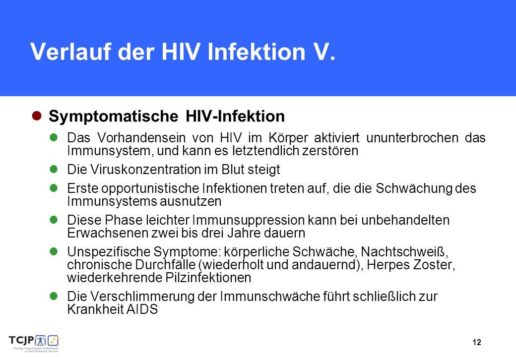 12 Verlauf der HIV Infektion V. Symptomatische HIV-Infektion Das Vorhandensein von HIV im Körper aktiviert ununterbrochen das Immunsystem, und kann es
