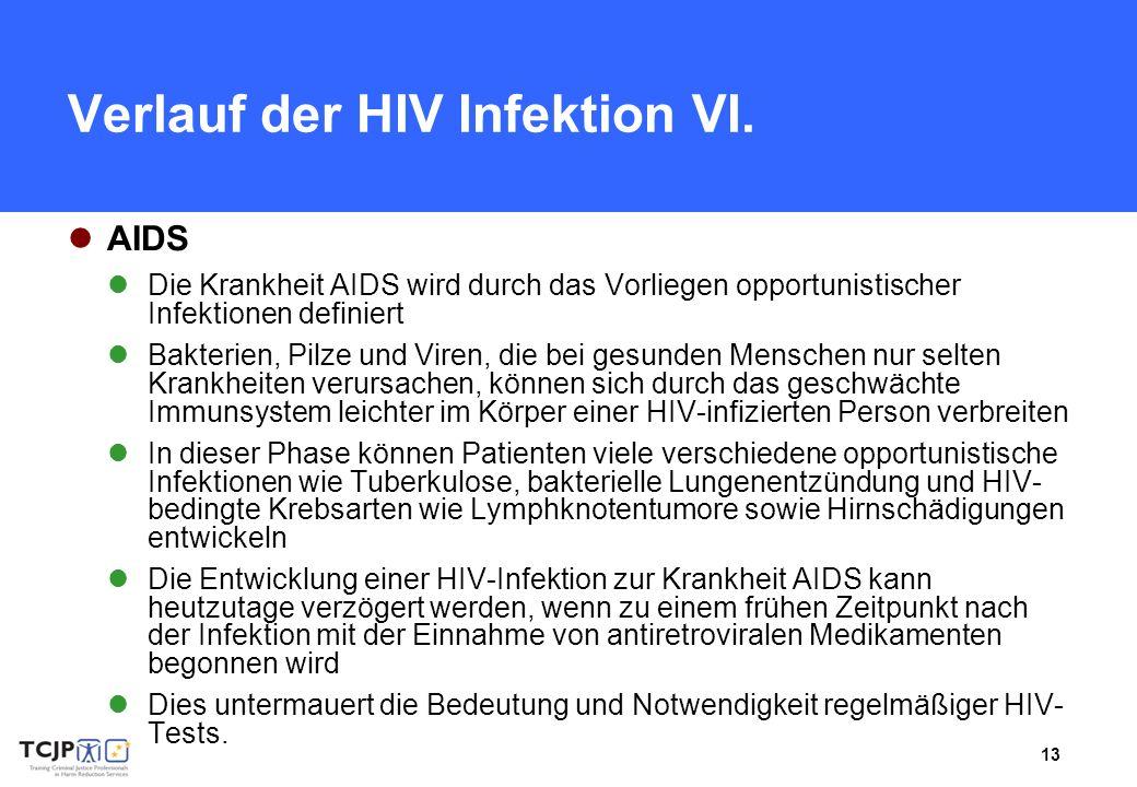 13 Verlauf der HIV Infektion VI. AIDS Die Krankheit AIDS wird durch das Vorliegen opportunistischer Infektionen definiert Bakterien, Pilze und Viren,