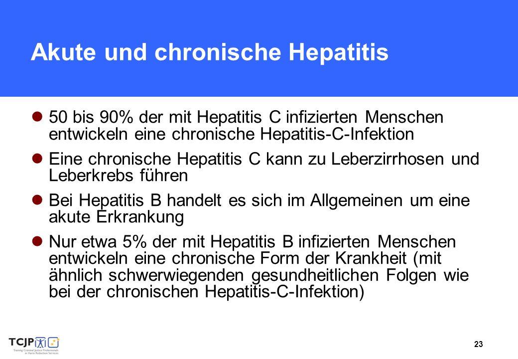 23 Akute und chronische Hepatitis 50 bis 90% der mit Hepatitis C infizierten Menschen entwickeln eine chronische Hepatitis-C-Infektion Eine chronische Hepatitis C kann zu Leberzirrhosen und Leberkrebs führen Bei Hepatitis B handelt es sich im Allgemeinen um eine akute Erkrankung Nur etwa 5% der mit Hepatitis B infizierten Menschen entwickeln eine chronische Form der Krankheit (mit ähnlich schwerwiegenden gesundheitlichen Folgen wie bei der chronischen Hepatitis-C-Infektion)