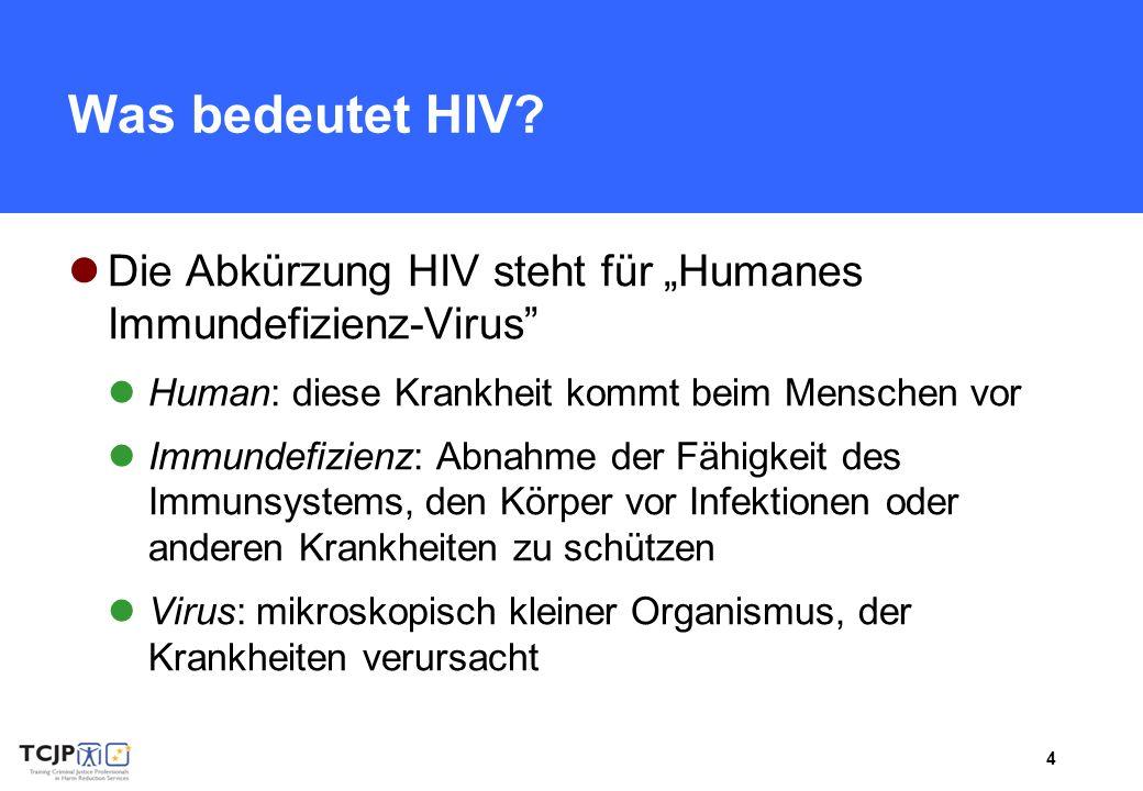 4 Was bedeutet HIV? Die Abkürzung HIV steht für Humanes Immundefizienz-Virus Human: diese Krankheit kommt beim Menschen vor Immundefizienz: Abnahme de