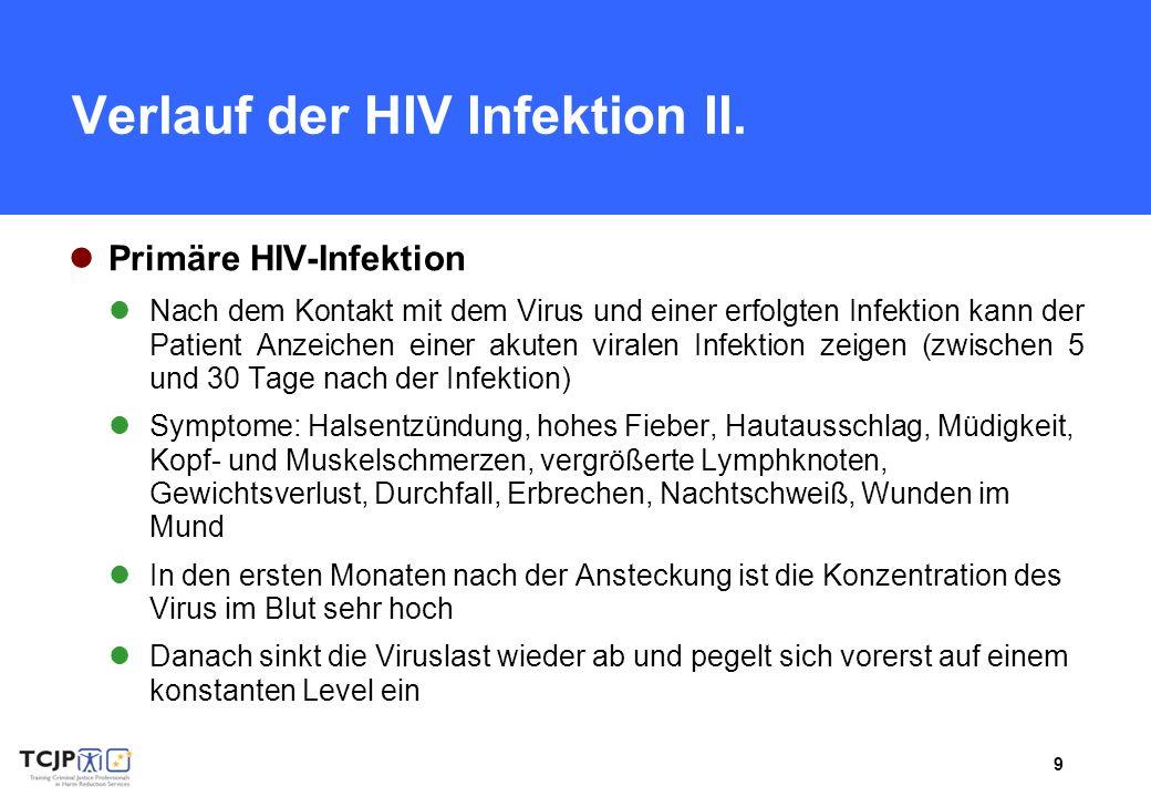 9 Verlauf der HIV Infektion II. Primäre HIV-Infektion Nach dem Kontakt mit dem Virus und einer erfolgten Infektion kann der Patient Anzeichen einer ak