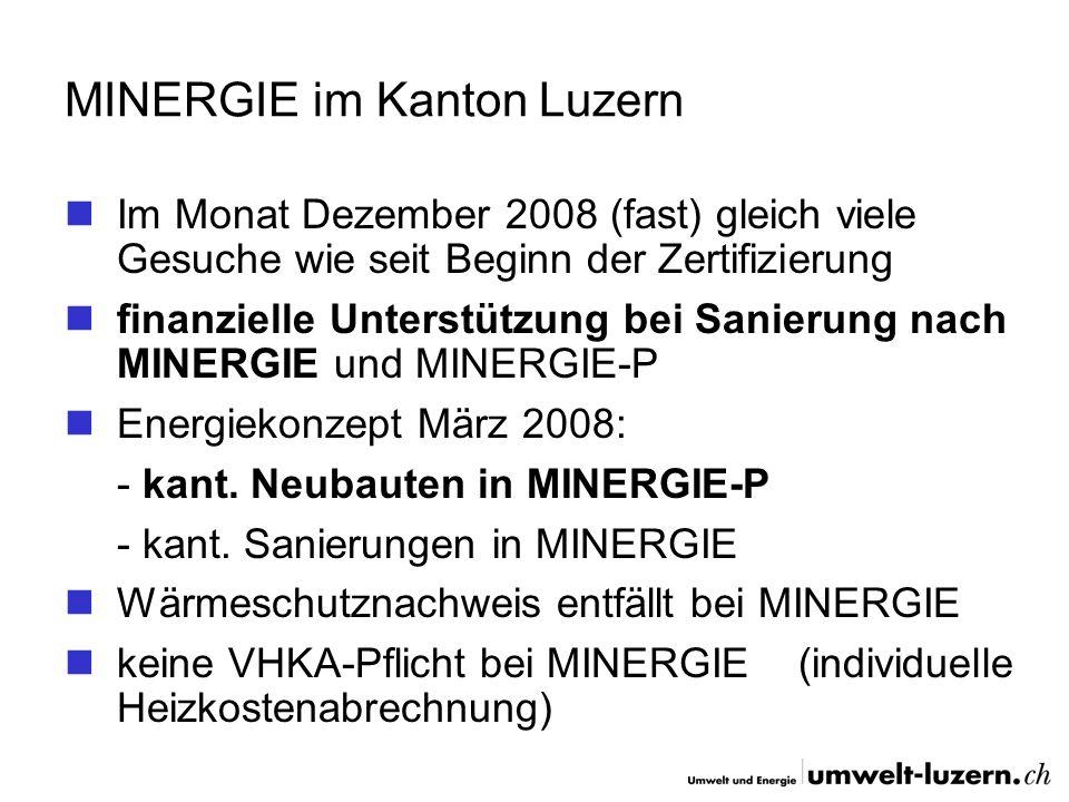 MINERGIE im Kanton Luzern Im Monat Dezember 2008 (fast) gleich viele Gesuche wie seit Beginn der Zertifizierung finanzielle Unterstützung bei Sanierun