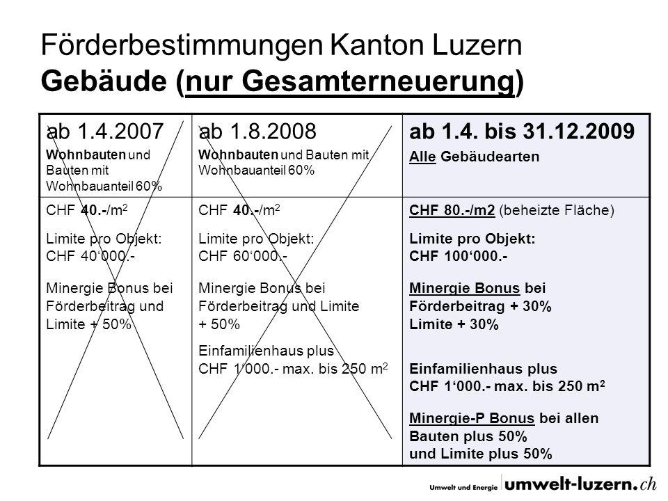 Förderbestimmungen Kanton Luzern Gebäude (nur Gesamterneuerung) ab 1.4.2007 Wohnbauten und Bauten mit Wohnbauanteil 60% ab 1.8.2008 Wohnbauten und Bau