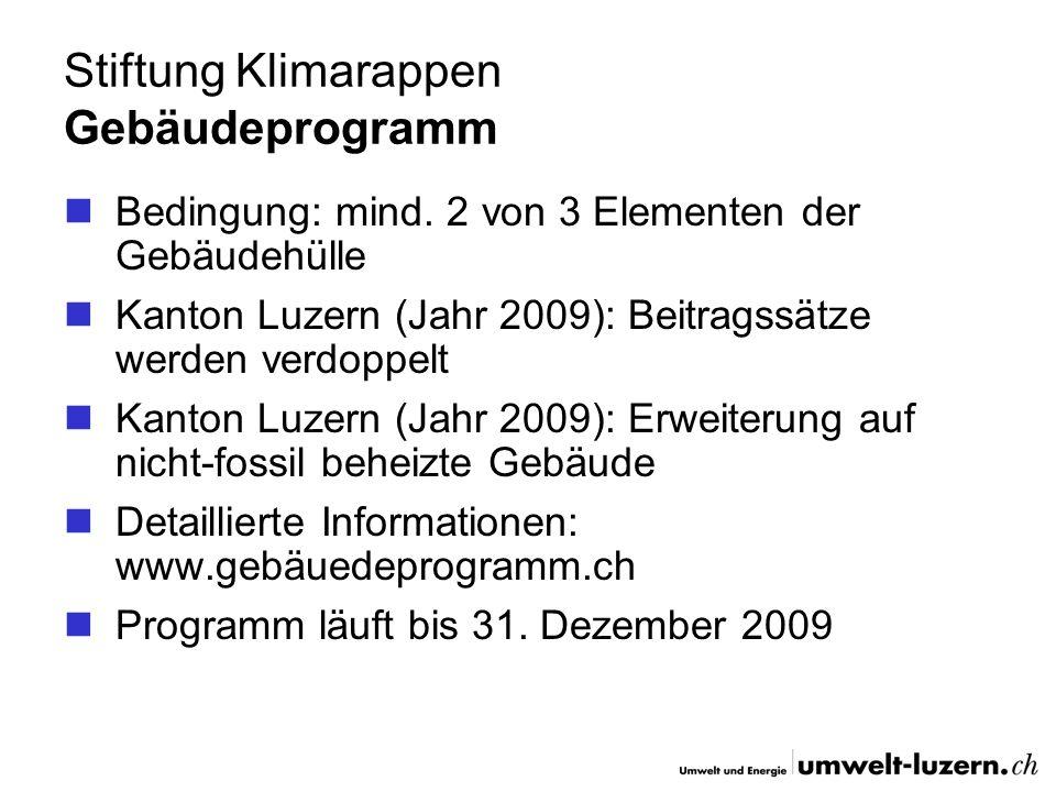 Stiftung Klimarappen Gebäudeprogramm Bedingung: mind. 2 von 3 Elementen der Gebäudehülle Kanton Luzern (Jahr 2009): Beitragssätze werden verdoppelt Ka