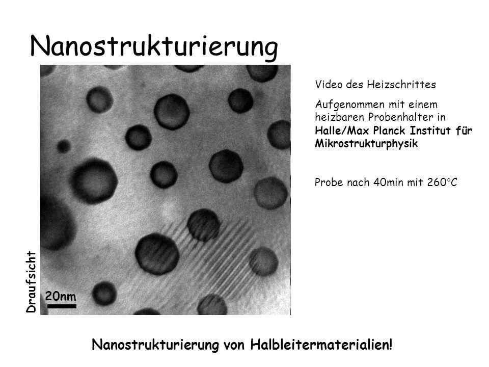 Nanostrukturierung Nanostrukturierung von Halbleitermaterialien! Video des Heizschrittes Aufgenommen mit einem heizbaren Probenhalter in Halle/Max Pla