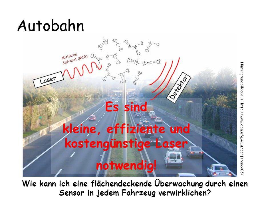 Autobahn Wie kann ich eine flächendeckende Überwachung durch einen Sensor in jedem Fahrzeug verwirklichen? Hintergrundbildquelle: http://www.dom.ufg.a