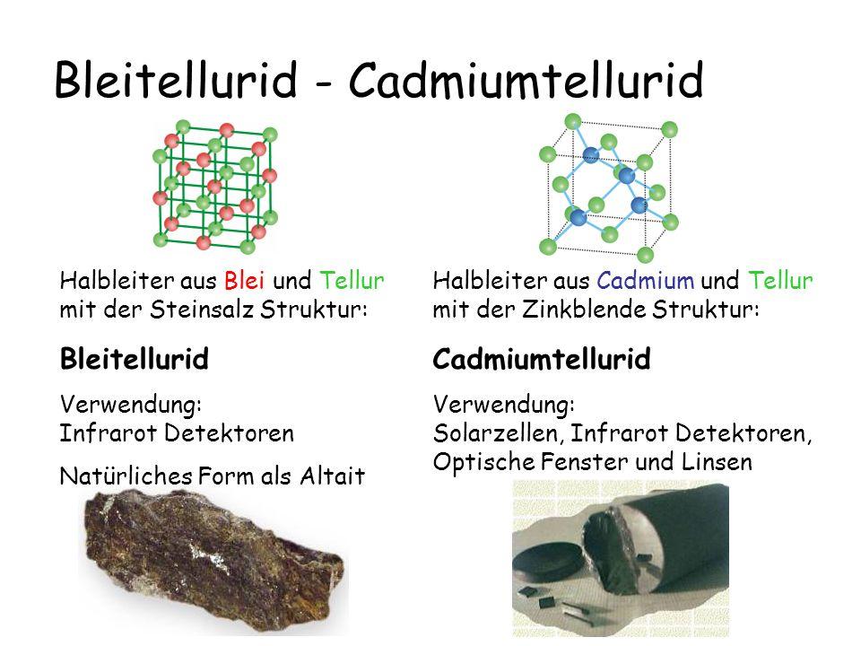 Bleitellurid - Cadmiumtellurid Halbleiter aus Cadmium und Tellur mit der Zinkblende Struktur: Cadmiumtellurid Verwendung: Solarzellen, Infrarot Detekt