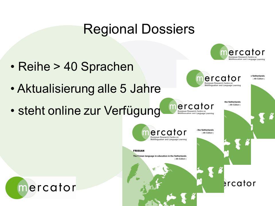 Regional Dossiers Reihe > 40 Sprachen Aktualisierung alle 5 Jahre steht online zur Verfügung
