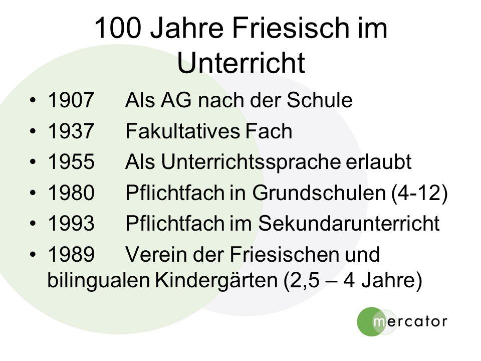 100 Jahre Friesisch im Unterricht 1907Als AG nach der Schule 1937Fakultatives Fach 1955Als Unterrichtssprache erlaubt 1980Pflichtfach in Grundschulen (4-12) 1993Pflichtfach im Sekundarunterricht 1989Verein der Friesischen und bilingualen Kindergärten (2,5 – 4 Jahre)