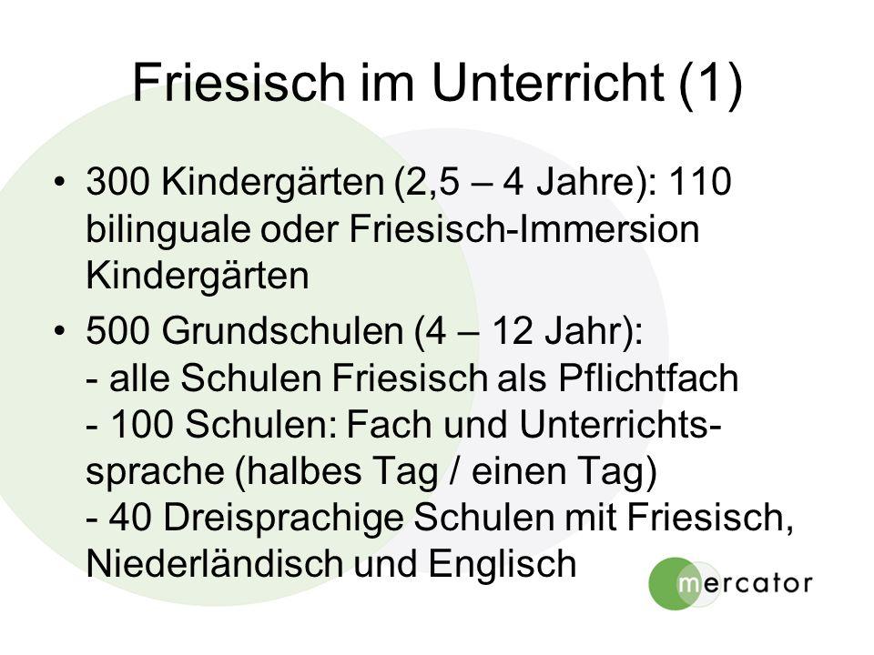 Friesisch im Unterricht (1) 300 Kindergärten (2,5 – 4 Jahre): 110 bilinguale oder Friesisch-Immersion Kindergärten 500 Grundschulen (4 – 12 Jahr): - alle Schulen Friesisch als Pflichtfach - 100 Schulen: Fach und Unterrichts- sprache (halbes Tag / einen Tag) - 40 Dreisprachige Schulen mit Friesisch, Niederländisch und Englisch
