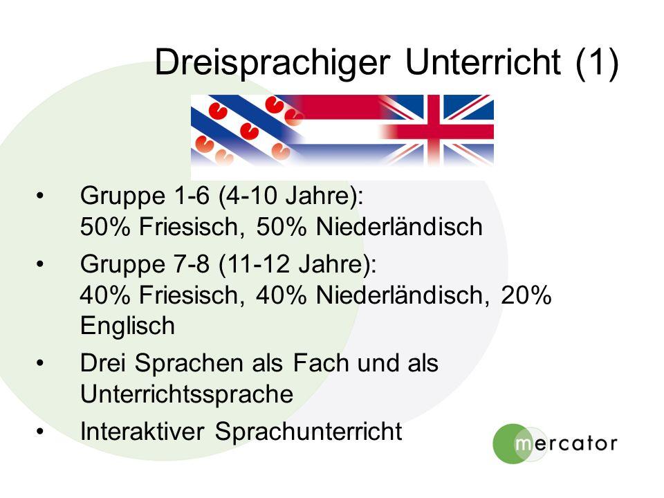 Dreisprachiger Unterricht (1) Gruppe 1-6 (4-10 Jahre): 50% Friesisch, 50% Niederländisch Gruppe 7-8 (11-12 Jahre): 40% Friesisch, 40% Niederländisch,