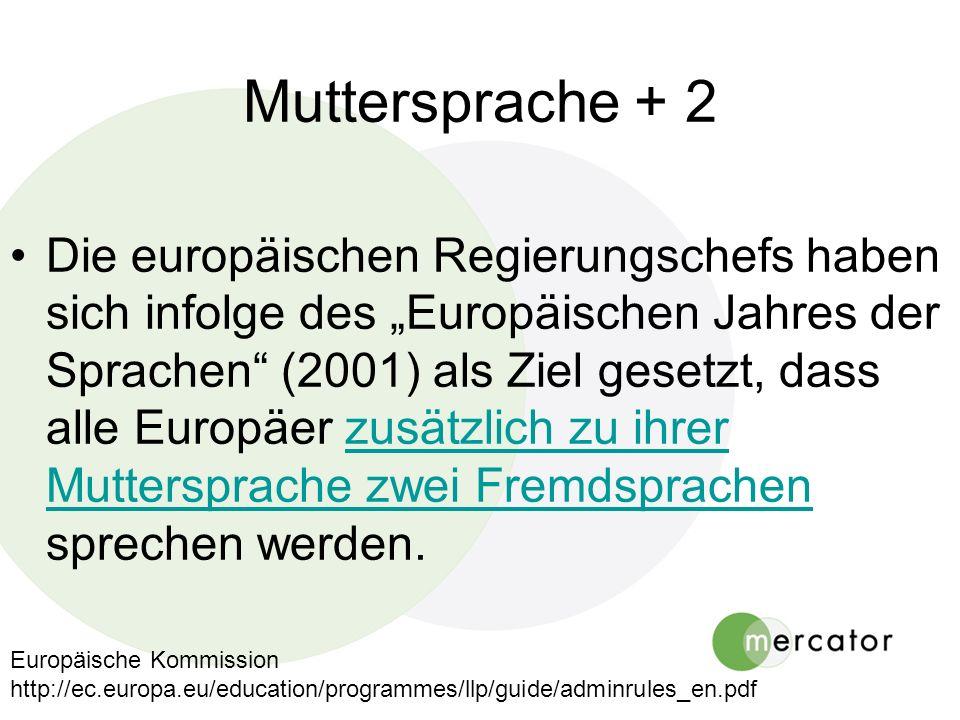 Muttersprache + 2 Die europäischen Regierungschefs haben sich infolge des Europäischen Jahres der Sprachen (2001) als Ziel gesetzt, dass alle Europäer zusätzlich zu ihrer Muttersprache zwei Fremdsprachen sprechen werden.zusätzlich zu ihrer Muttersprache zwei Fremdsprachen Europäische Kommission http://ec.europa.eu/education/programmes/llp/guide/adminrules_en.pdf