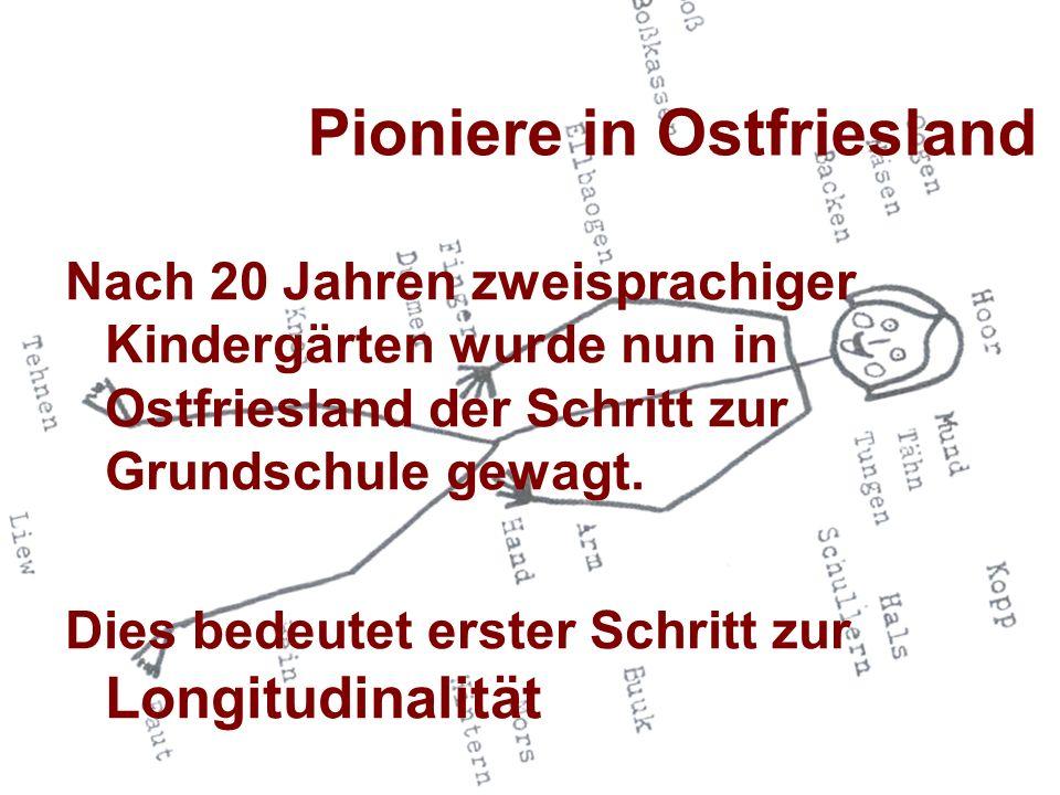 Pioniere in Ostfriesland Nach 20 Jahren zweisprachiger Kindergärten wurde nun in Ostfriesland der Schritt zur Grundschule gewagt. Dies bedeutet erster
