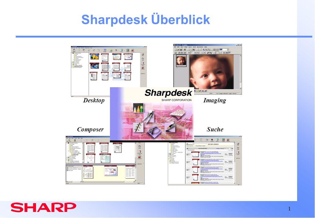 12 Sharpdesk: Composer Composer-Fenster mit aktivem Dokument Komposition Arbeitsbereich Quellen- Dokumentliste Drucken Speichern Verteilen Mischt unterschiedliche Dokumenttypen für:
