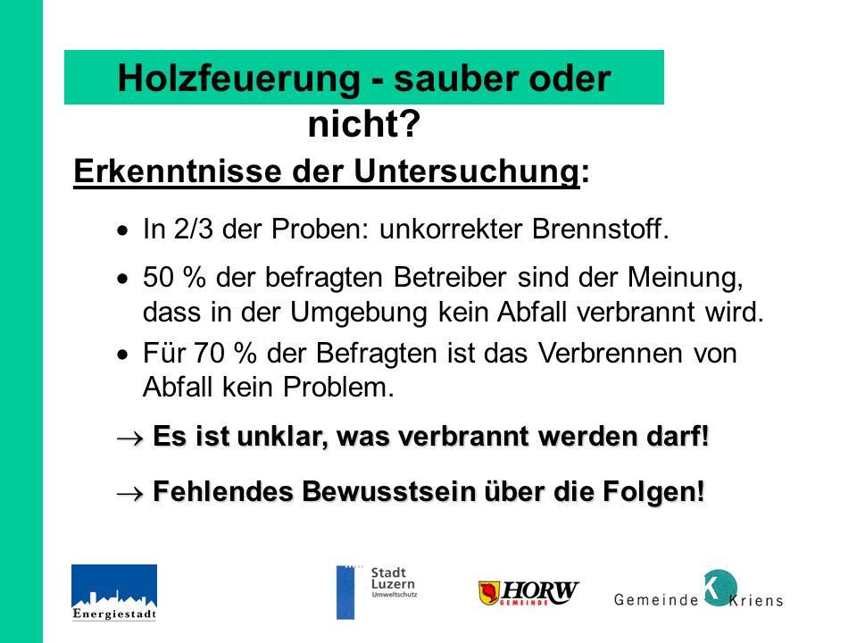 Erkenntnisse der Untersuchung: In 2/3 der Proben: unkorrekter Brennstoff.