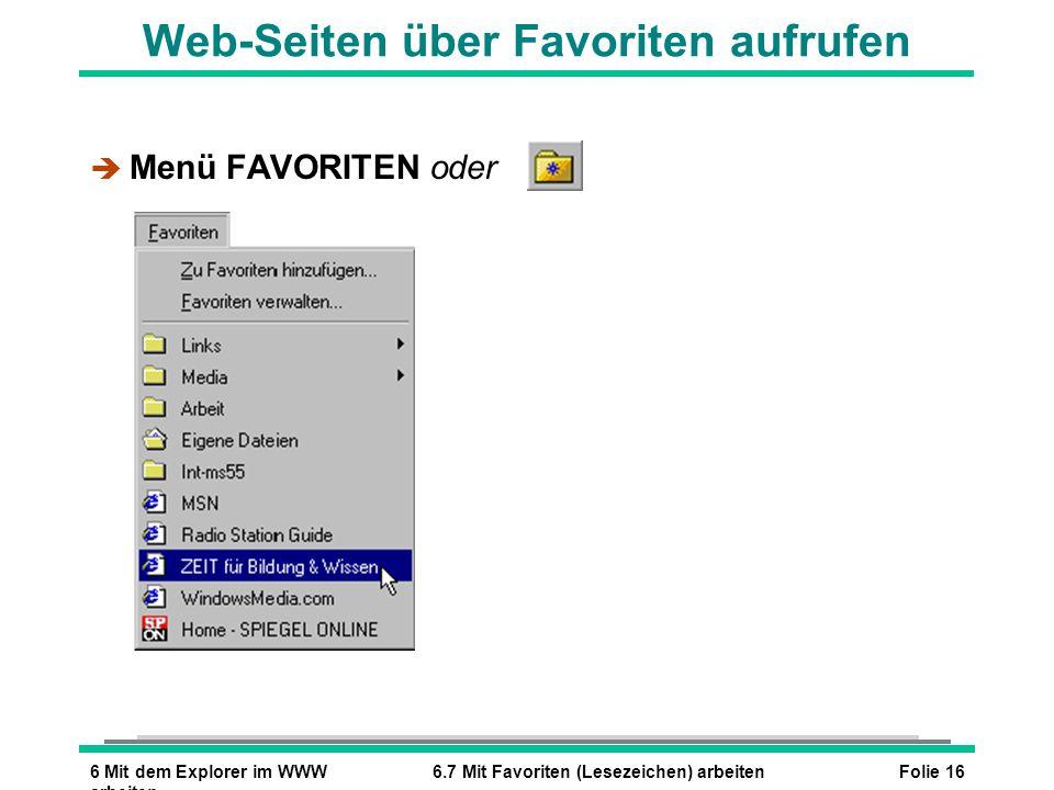 Folie 166 Mit dem Explorer im WWW arbeiten 6.7 Mit Favoriten (Lesezeichen) arbeiten Web-Seiten über Favoriten aufrufen è Menü FAVORITEN oder