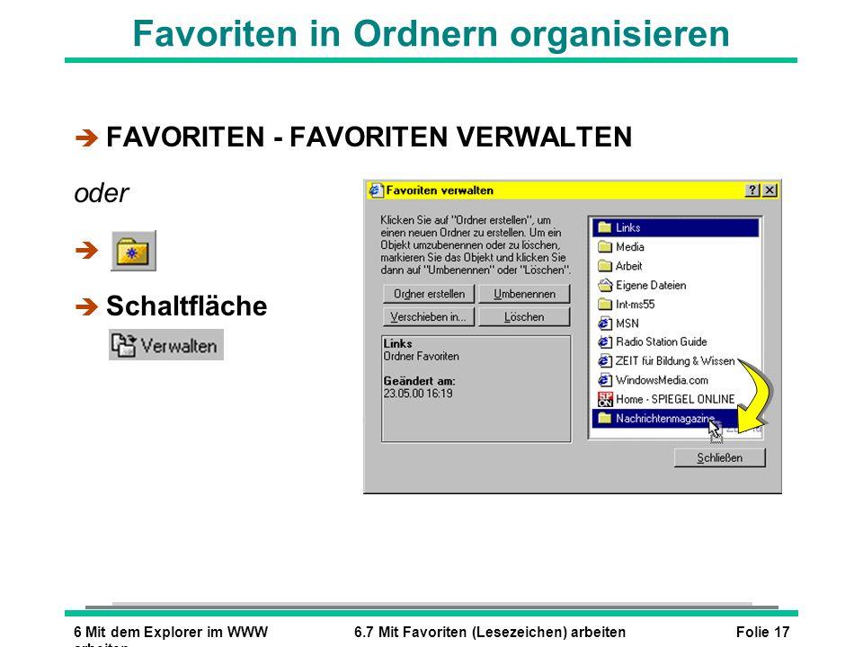 Folie 176 Mit dem Explorer im WWW arbeiten 6.7 Mit Favoriten (Lesezeichen) arbeiten Favoriten in Ordnern organisieren è FAVORITEN - FAVORITEN VERWALTE