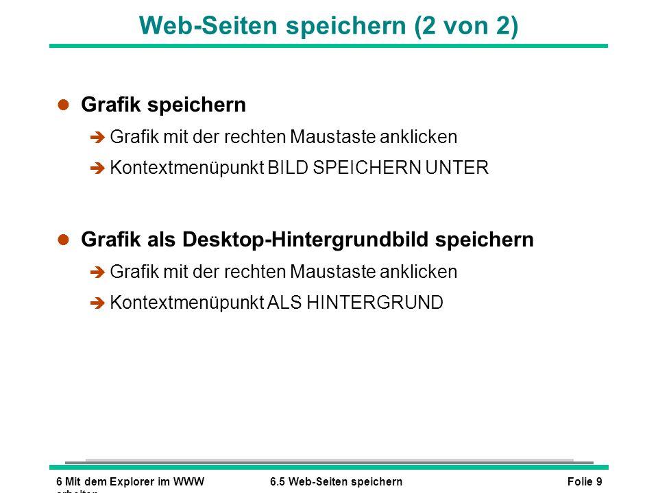 Folie 96 Mit dem Explorer im WWW arbeiten 6.5 Web-Seiten speichern l Grafik speichern è Grafik mit der rechten Maustaste anklicken è Kontextmenüpunkt