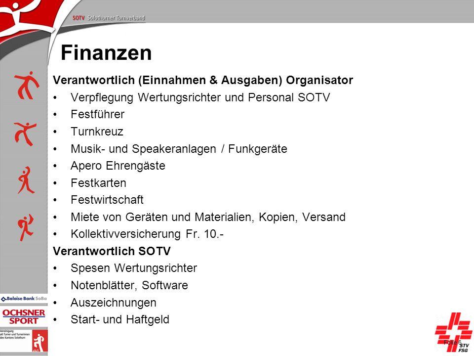 P+L-Konferenzen 2004, SOTV-Fenster Finanzen Verantwortlich (Einnahmen & Ausgaben) Organisator Verpflegung Wertungsrichter und Personal SOTV Festführer
