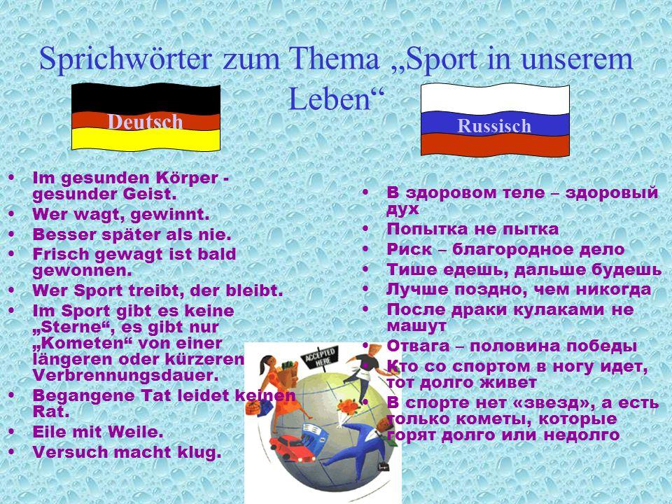 Sport, Sport, Sport – an jedem Ort.Wozu treiben wir Sport.