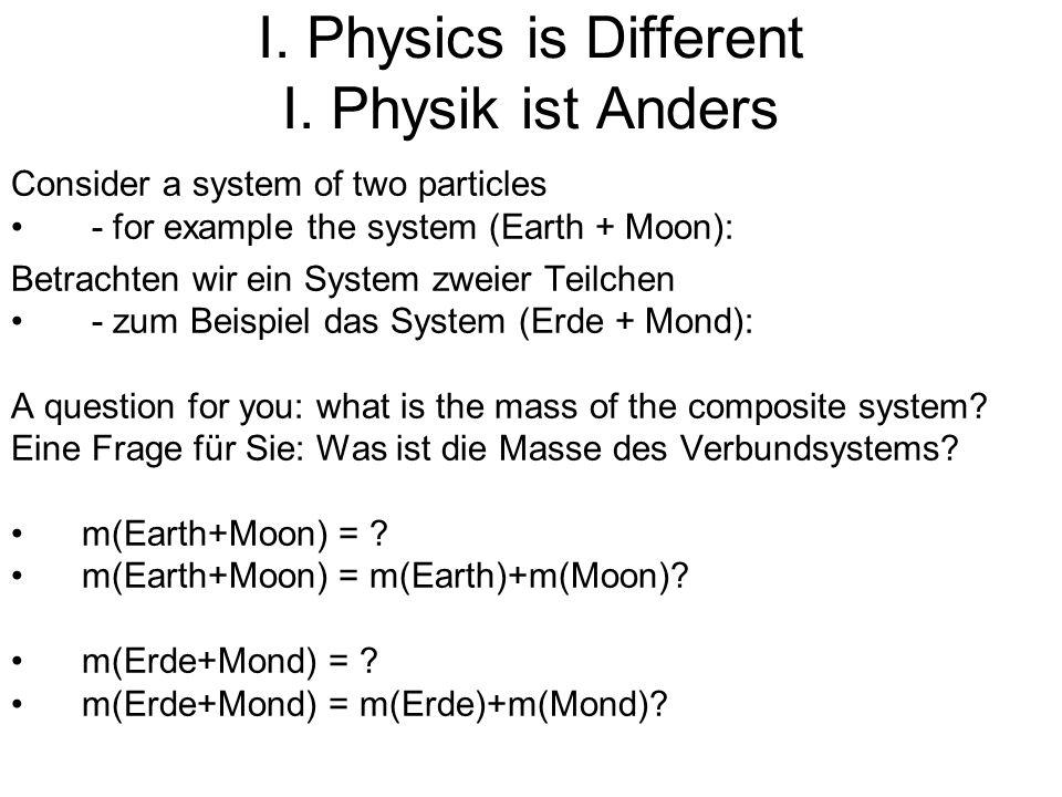 But consider E=mc 2 : Betrachten Sie hingegen E=mc 2 : First a little joke: the famous equation it was not so hard to find: Zuerst ein kleiner Witz: die berühmteste Gleichung, so schwer war sie nicht zu finden: Einstein first tried E=ma 2 it did not work Einstein probierte zuerst E=ma 2, das funktionierte nicht then E=mb 2 it did not work either dann E=mb 2, das funktionierte auch nicht and finally E=mc 2 and this was it.