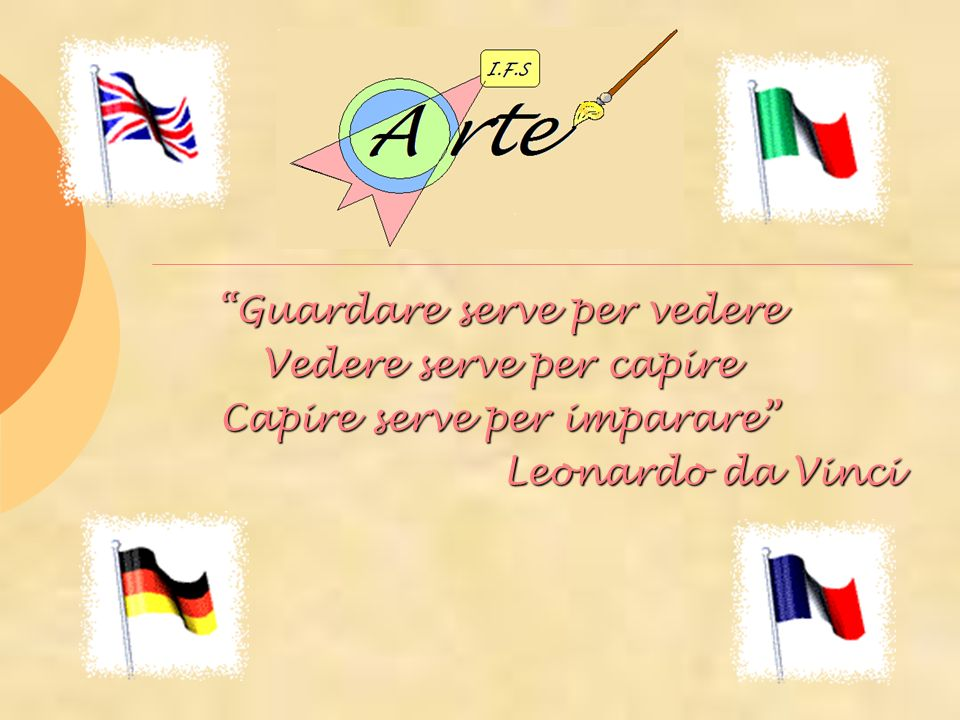 Guardare serve per vedere Vedere serve per capire Capire serve per imparare Leonardo da Vinci Leonardo da Vinci