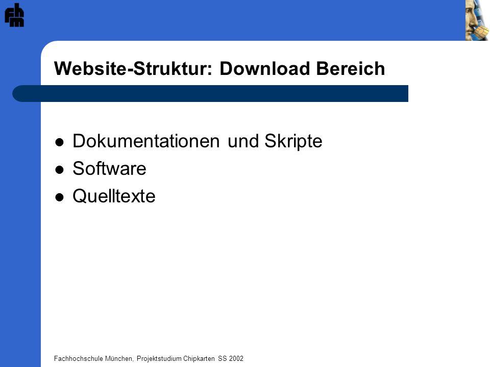 Fachhochschule München, Projektstudium Chipkarten SS 2002 Website-Struktur: Download Bereich Dokumentationen und Skripte Software Quelltexte