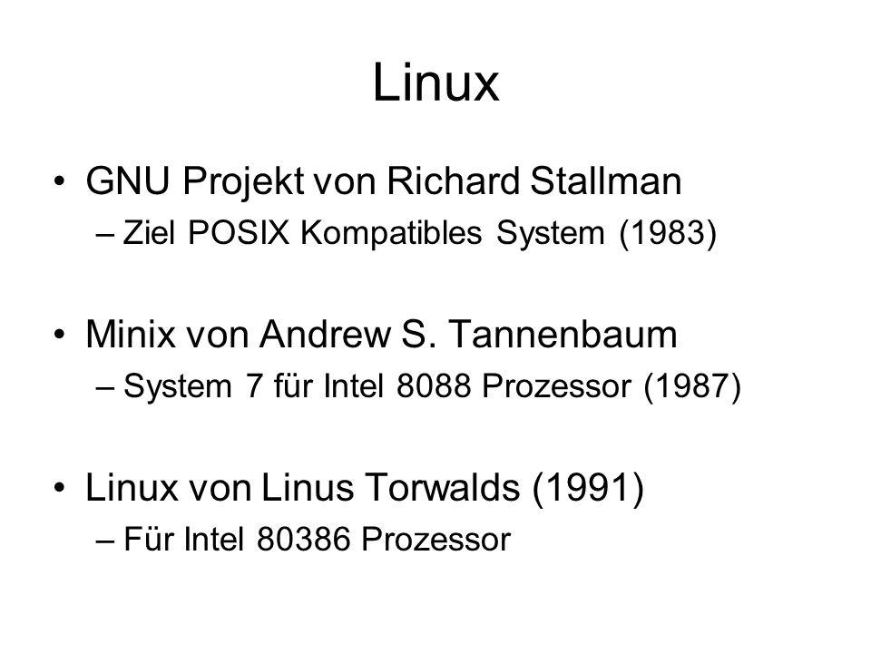 Unix Systeme Unix (Bell Labs) BSD (Universität Berkely) Xenix (SCO) Ultrix (DEC) Sinix (Siemens) AIX (IBM) A/UX (Apple) HP-UX (Hewlett Packard) Minix (Vrije Universität Amsterdam) … nach 1990: OSF/1 (Open Source Foundation) Solaris (Sun Microsystems) UnixWare (AT&T, Novell) OpenServer (SCO) Darwin (Apple) POSIX Standard