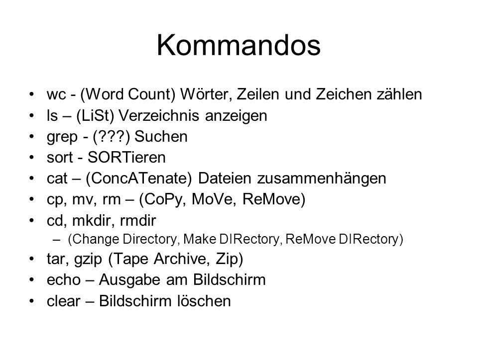 Hilfskommandos man (Manual) – Handbuch –man ls whatis – Was ist … .