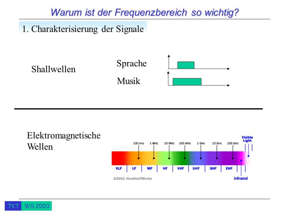 TKTWS 2003 Warum ist der Frequenzbereich so wichtig? 1. Charakterisierung der Signale Sprache Musik Shallwellen Elektromagnetische Wellen