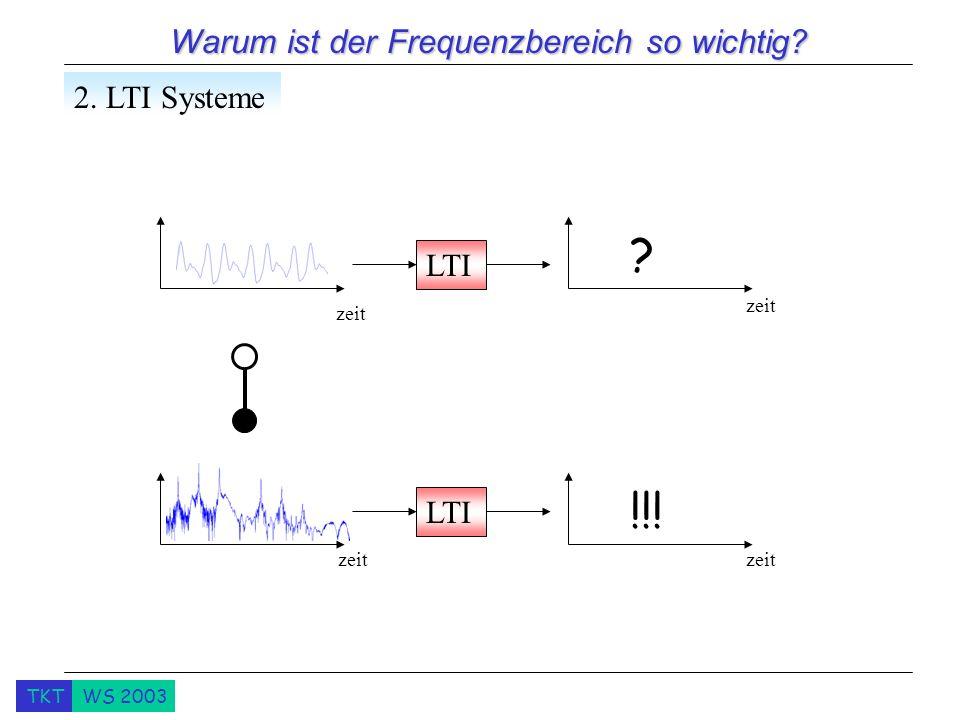 TKTWS 2003 Warum ist der Frequenzbereich so wichtig? 2. LTI Systeme LTI ? !!! zeit