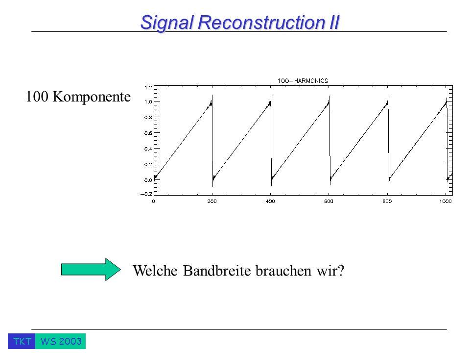 TKTWS 2003 Signal Reconstruction II 100 Komponente Welche Bandbreite brauchen wir?